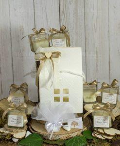 bomboniera candela in vetro con scatola casetta e applicazione cuoricino su fiocchetto doppio
