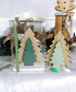 bomboniera doppio albero di natale in legno piccolo