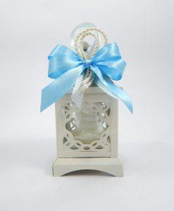 bomboniera lanterna bianca con fiocco azzurro