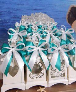 bomboniera lanterna decori assortiti fiocchi tiffany e bianchi