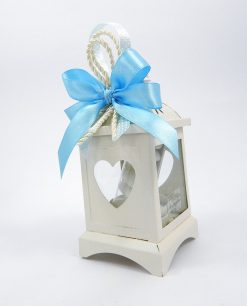 bomboniera lanterna metallo bianco con fiocco azzurro