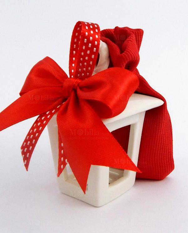 bomboniera lanterna portacandela con fiocchi e sacchetto rossi