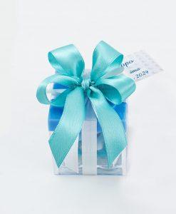 bomboniera lego azzurro con fiocco a 4 azzurro