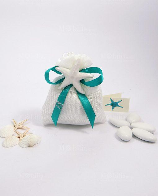 bomboniera magnete stella marina bianca ceramica su sacchetto fiocco tiffany