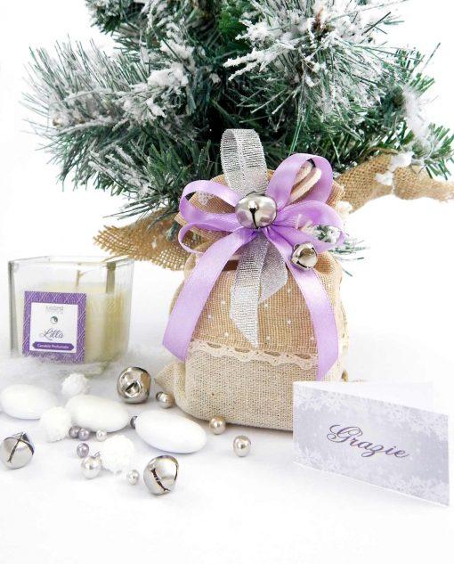 bomboniera natalizia candela profumata con sacchettino e sonaglini