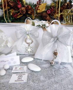 bomboniera natalizia ciondolo argento su sacchettino tabor