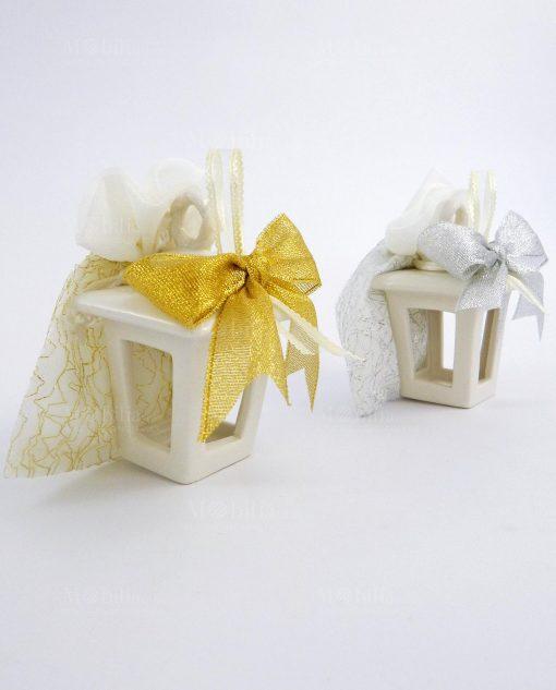 bomboniera natalizia lanterna portacandela in ceramica