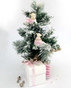 bomboniera natalizia palla di neve rosa soggetti assortiti