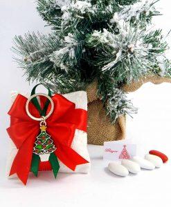 bomboniera natalizia portachiavi albero di natale su sacchetto