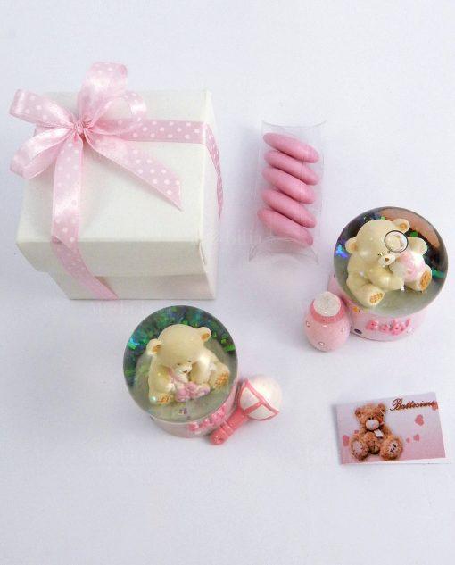 bomboniera palla di vetro con neve e orsetto rosa soggetti assortiti