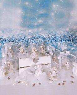 bomboniera palla di vetro con uccellino e nastri bianchi