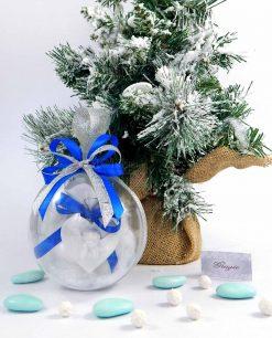 bomboniera pallina natalizia appendino cuore con angelo