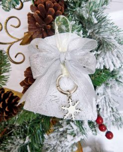 bomboniera portachiavi fiocco di neve in argento smaltato tabor