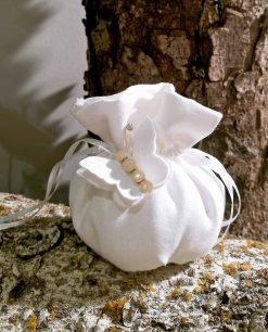 bomboniera sacchettino bianco con farfalla