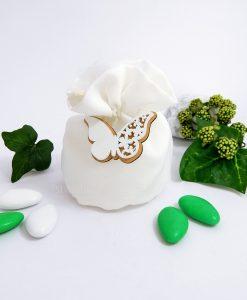 bomboniera sacchettino bianco con farfalla in legno