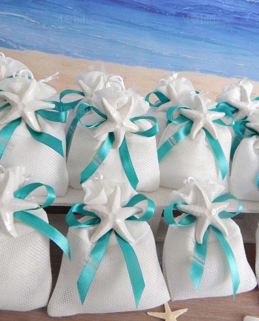 bomboniera sacchettino bianco portaconfetti con magnete stella marina bianca fiocco tiffany