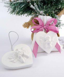 bomboniera sacchettino con appendino cuore angelo bianco