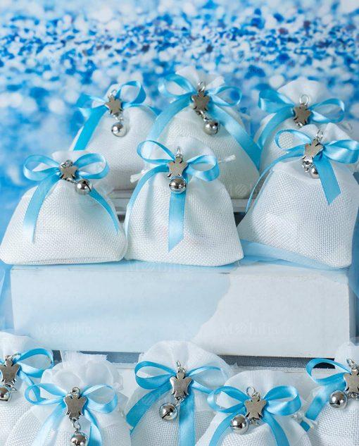 bomboniera sacchettino portaconfetti bianco con ciondolo angioletto con sonaglio