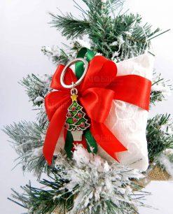 bomboniera sacchetto con ciondolo albero di natale in argento tabor