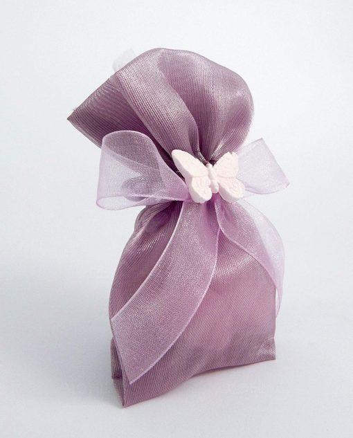 bomboniera sacchetto portaconfetti viola con farfalla