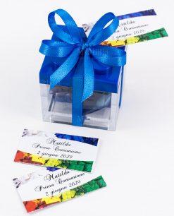 bomboniera scatolina lego blu con fiocco a 4 e bigliettino