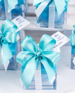 bomboniera scatolina portaconfetti lego azzurro con fiocco a 4 azzurro e bigliettino