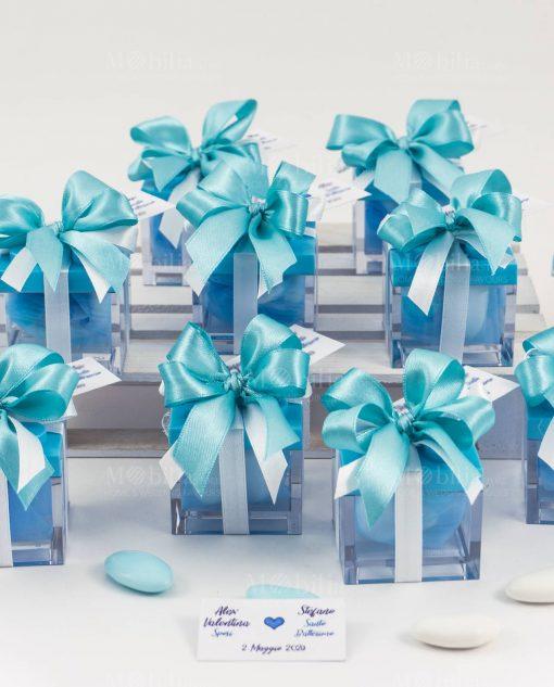 bomboniera scatolina portaconfetti lego azzurro con fiocco e bigliettino