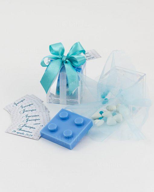 bomboniera scatolina portaconfetti lego con tappo azzurro e doppio fiocco a 4 tiffany e bianco