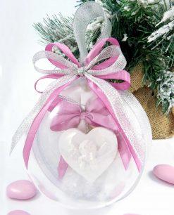 bomboniera sfera in plexiglass con appendino cuore angelo