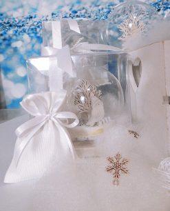 bomboniera sfera vetro con uccellino dentro scatola trasparente