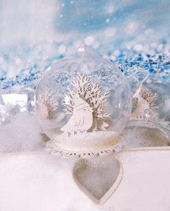 bomboniera sfera vetro con uccellino e albero