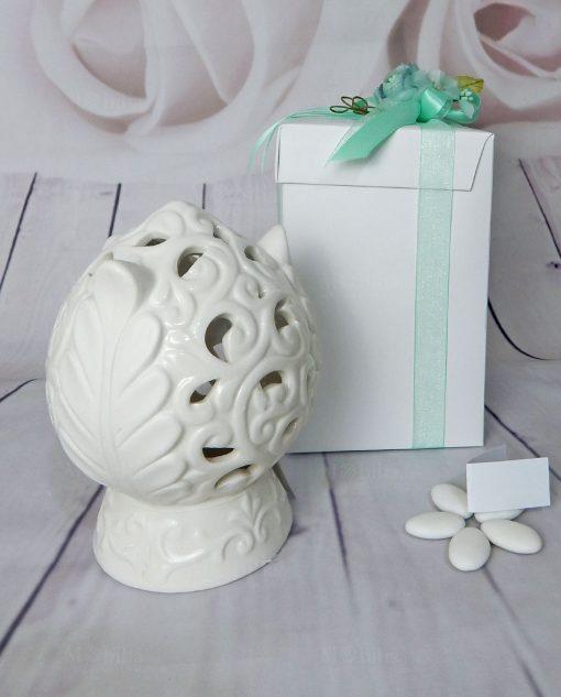 bomboniera testimoni pomo in ceramica bianca con luce led ad emozioni