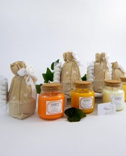 bomboniere candele con tappo in sughero confezionate