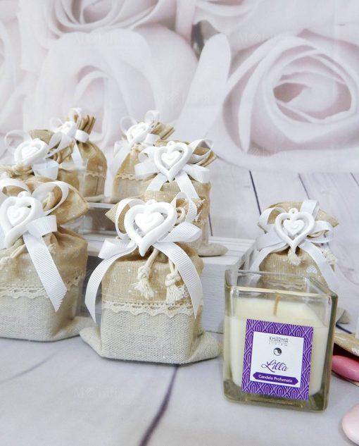 bomboniere candele profumata con contenitore vetro