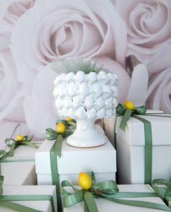 bomboniere ceramica di caltagirone mezza pigna bianca