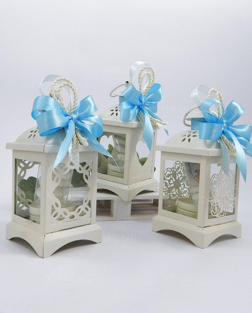 bomboniere lanterne metallo bianco