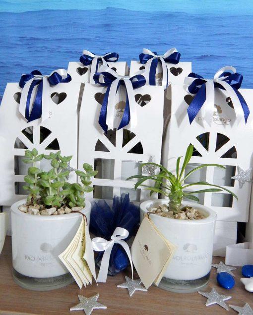 bomboniera piante grasse con vaso vetro e scatola casetta con nastro blu e bianco