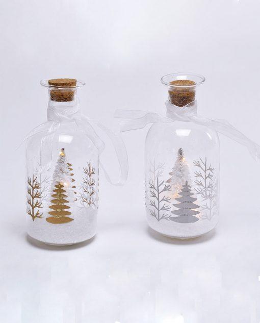 bottiglia con albero di natale