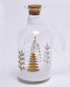 bottiglia con albero di natale in vetro