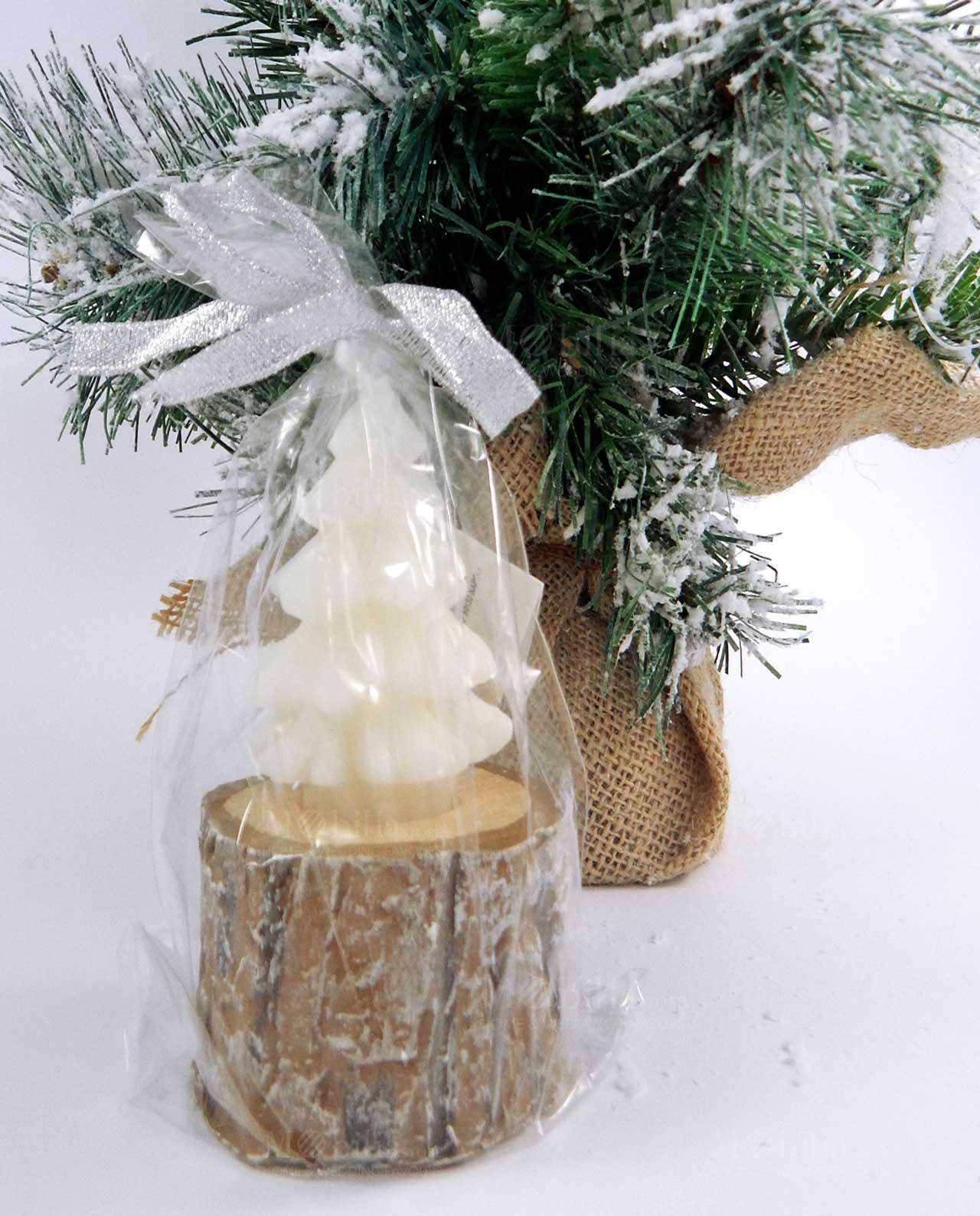 Tronchetto Bianco Di Natale.Candela Alberello Bianco Su Tronco