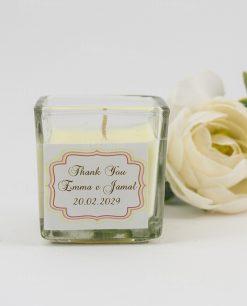 candela bianca con barattolo vetro e scritta thank you