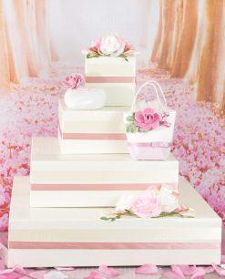 cesta portabombiniera a forma di torta con pochette profumatore e borsetta portaconfetti rdm blush