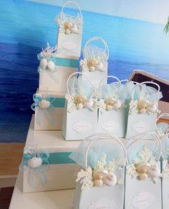 cesto portasacchetti a forma di torta confezionato tema mare