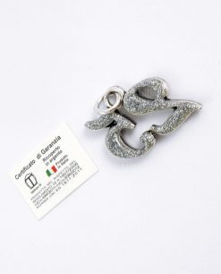 ciondolo 25 argento con glitter tabor per bomboniere