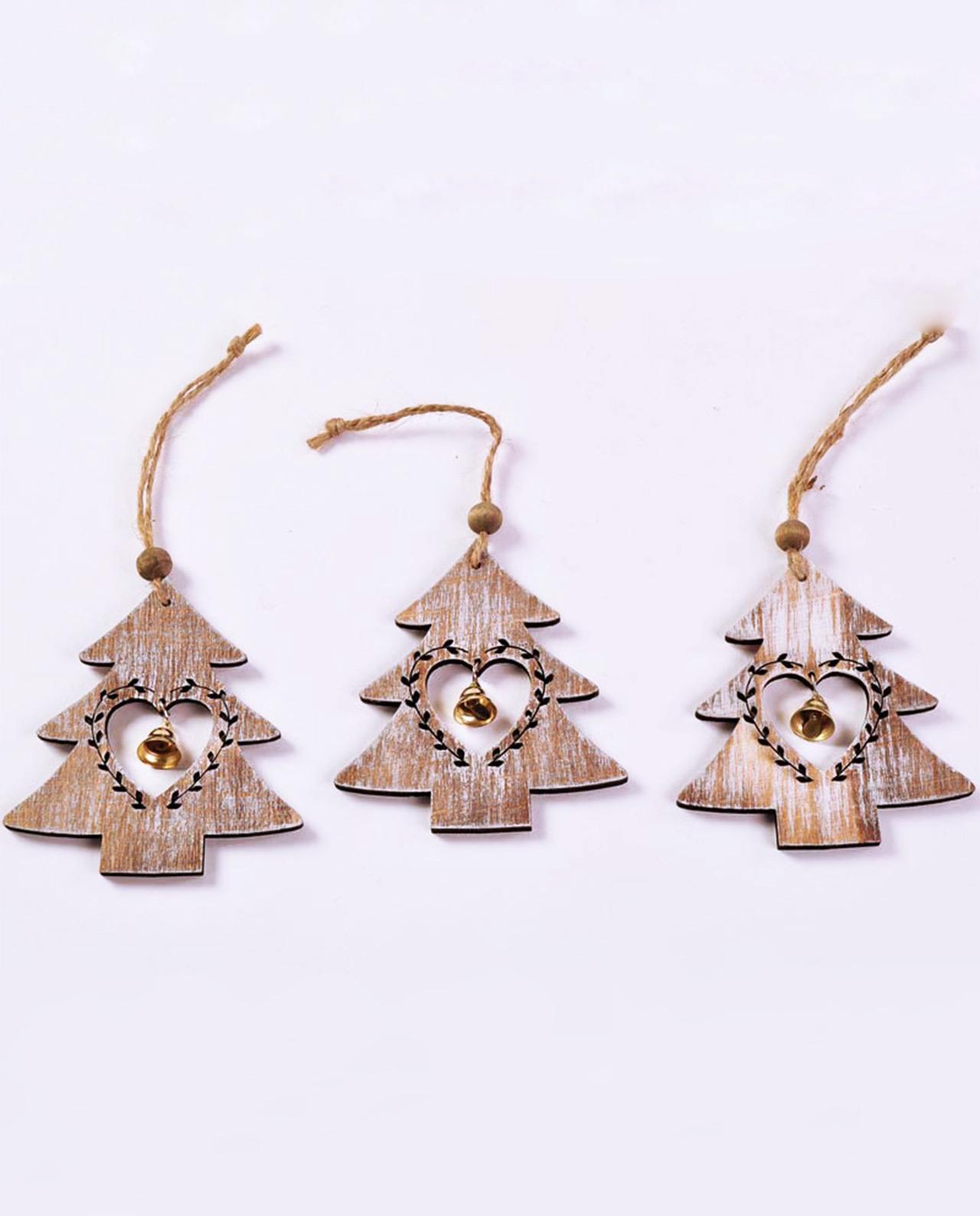 Decorazioni natalizie in legno da appendere set 3 pezzi - Decorazioni legno ...