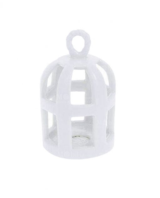 lanterna portacandela gabbietta ceramica bianca intagliata