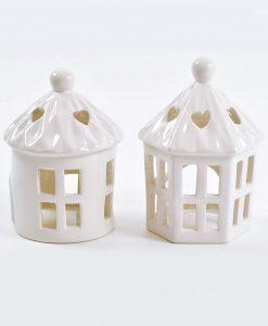lanterna portacandele ceramica bianca 2 forme assortite