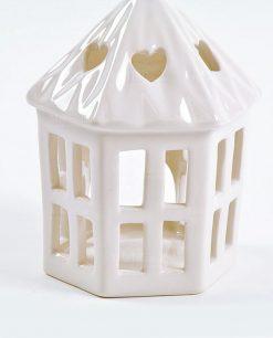 lanterna portacandele ceramica bianca