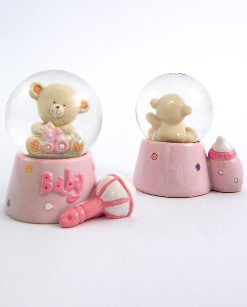 palla di neve in vetro con orsetto e base rosa