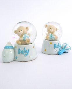palla di vetro con neve glitter e rosetto azzurro